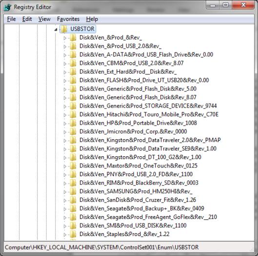 Registry USBSTOR
