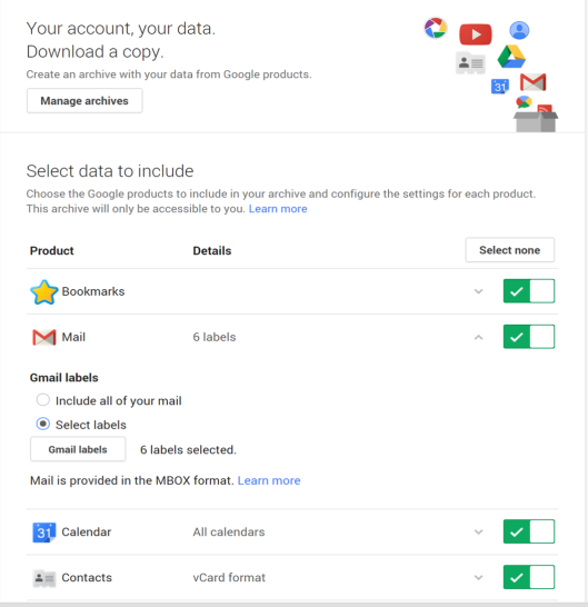 gmail archive